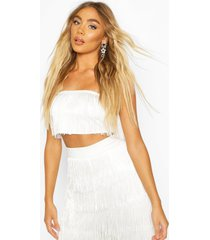 all over tassel bandeau crop top, white