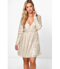 plus sequin wrap skater dress, gold