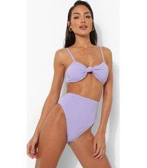 bikini broekje met hoge taille en textuur, lilac