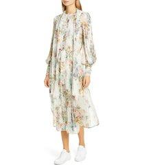 women's zimmermann wavelength long sleeve floral silk midi dress