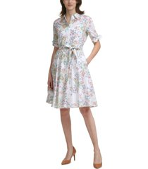 calvin klein floral-print tie-waist cotton dress