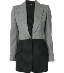 alexander mcqueen panelled single-breasted blazer - grey