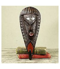 african wood mask and coat hook, 'face of strength' (ghana)