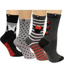 disney women's 4-pk. minnie mouse assorted dotted stripes socks