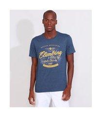 "camiseta masculina manga curta climbing"" gola careca azul marinho"""