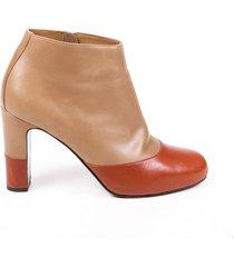 hermes bicolor brown leather block heel ankle booties brown sz: 7.5