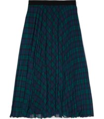 tommy hilfiger adaptive women's icon tartan pleated midi skirt with pull-up loops