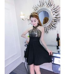 pf244 sexy sequined neck halter dress,stretchcable cotton,, free size black