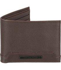 billetera de cuero unicolor con textura para hombre 03624