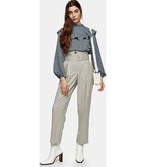 light gray high waist belted peg pants - light grey