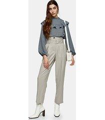 light grey high waist belted peg trousers - light grey
