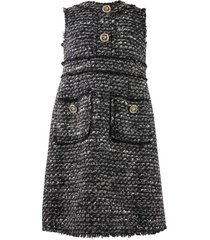 tweed dress with decorated buttons