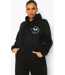 plus hoodie met tennis club borstopdruk, black