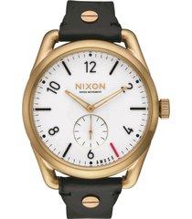 reloj leather light gold nixon