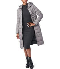 bernardo hooded long quilted coat, size x-large in charcoal at nordstrom