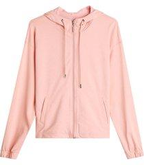 chaqueta rompe vientos unicolor color rosado, talla 10