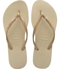 women's havaianas 'slim crystal glamour' flip flop, size 35/36 br - beige