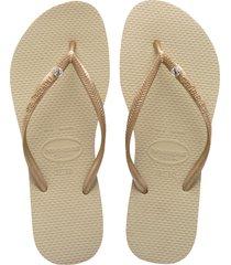 women's havaianas 'slim crystal glamour' flip flop, size 41/42 br - beige