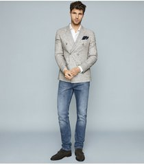 reiss extra - puppytooth linen blazer in grey, mens, size 46