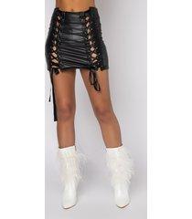 akira hot and shy lace up mini skirt