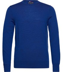 fine gauge luxury wool crew neck stickad tröja m. rund krage blå tommy hilfiger tailored