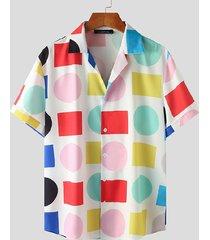 incerun camisa casual de playa con estampado geométrico multicolor para hombre