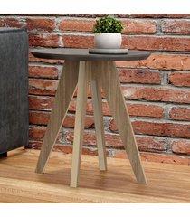 mesa de canto redonda 100% mdf tb37 grafite/carvalho - dalla costa