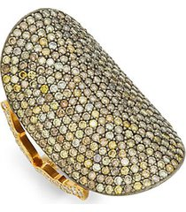 18k yellow gold, sterling silver & champagne diamond saddle ring