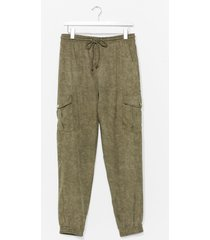womens cargo there high-waisted textured pants - khaki