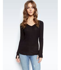 otis fitted v-neck top - m black