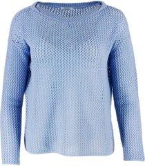 malo oversized sweater with perforated v-neck in cashmere with long sleeves