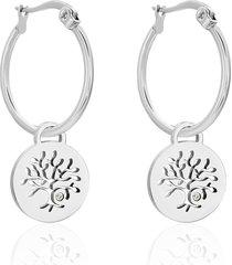 orecchini a cerchio in acciaio e strass con pendente albero della vita per donna