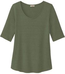 shirt met ronde hals en korte mouwen, steengroen 34