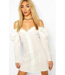 katoenen mini jurk met uitgesneden schouders en pofmouwen, white