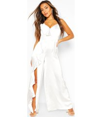 petite occasion satin ruffle detail jumpsuit, ivory