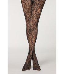 calzedonia eco q-nova patterned mesh tights woman black size 3/4