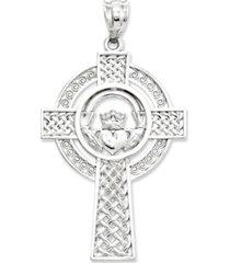 14k white gold charm, celtic claddagh cross charm