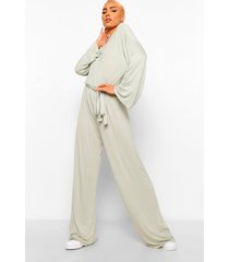 flared sleeve slouchy casual wide leg jumpsuit, sage