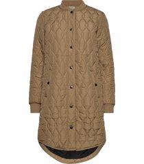 kashally quilted coat doorgestikte jas bruin kaffe