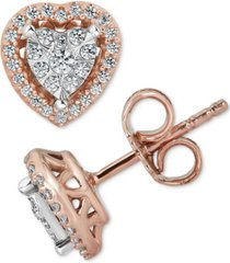 diamond heart cluster stud earrings (1/4 ct. t.w.) in 10k rose gold & white gold