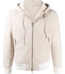 eleventy nubuck panelled hoodie - neutrals
