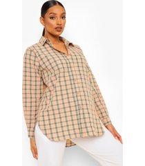 zwangerschaps geruite oversized blouse, peach