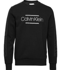 mix media logo sweatshirt sweat-shirt trui zwart calvin klein