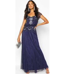 bridesmaid hand embellished maxi dress, navy