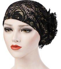 berretto da donna con fiore in pizzo traspirante cappellino musulmano casual selvaggio con cappuccio solido