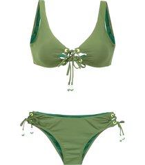 amir slama lace up bikini set - green