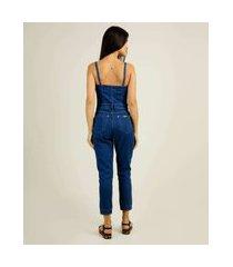 macacão feminino botões alças finas zune jeans