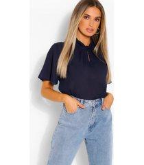blouse met knoopsluiting en engelmouwen, marineblauw
