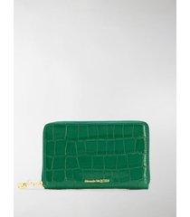 alexander mcqueen crocodile-effect wallet