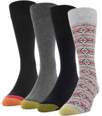 gold toe men's 4-pack christmas fairisle socks
